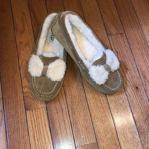 Ugg moccasins with shearling bows